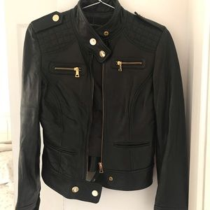 Moda International Moto Leather Jacket | Gold 2/XS